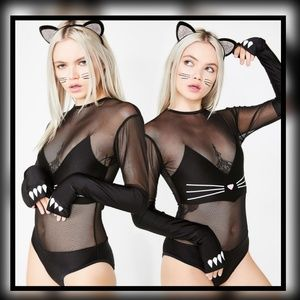 New! Sly Kitty Bodysuit Costume, Halloween